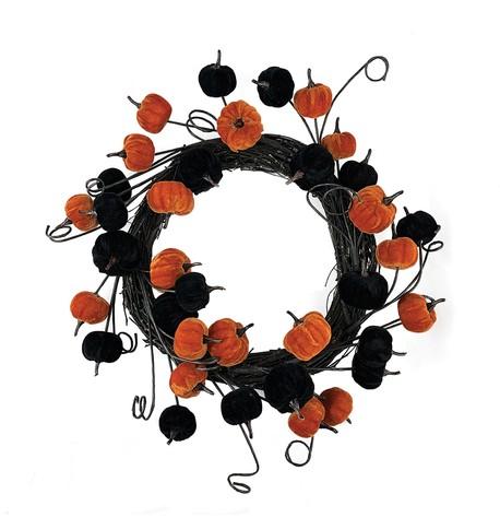 Pumpkin Wreath Black and Orange
