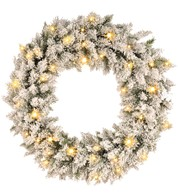 Pre Lit Flocked Norway Spruce Wreath - White