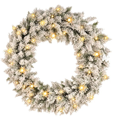 Pre Lit Flocked Norway Spruce Wreath (available 6th November) White