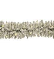 Pre Lit Flocked Norway Spruce Garland - White
