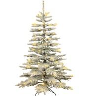 Pre Lit Flocked Norway Spruce Tree - White