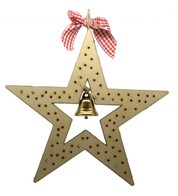 Wood Star Battery Operated Light Decoration - Cream