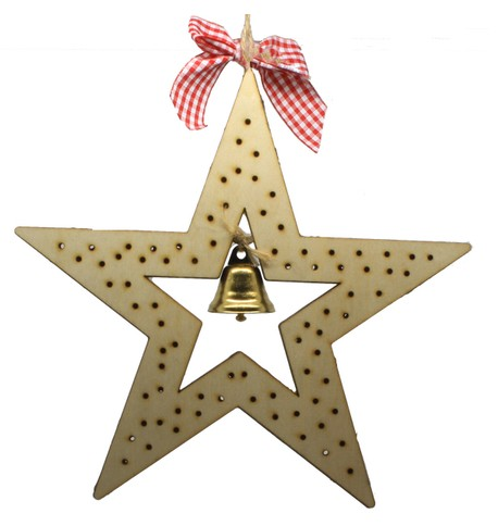Wood Star Battery Operated Light Decoration Beige