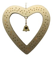 Wooden Heart Battery Operated Light Decoration - Cream