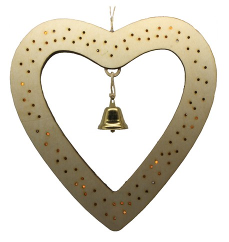 Wooden Heart Battery Operated Light Decoration Beige