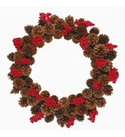 Pine Cone Wreath With Red Bunch Berries - Brown