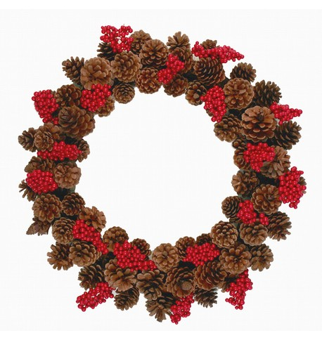Pine Cone Wreath With Red Bunch Berries Brown