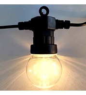 Festoon Lights with E27 Replaceable Bulbs - Clear Globe on Black Cable - Clear Globe on Black Cable