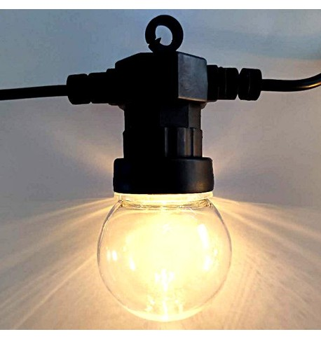 Festoon Lights with E27 Replaceable Bulbs - Clear Globe on Black Cable Clear Globe on Black Cable