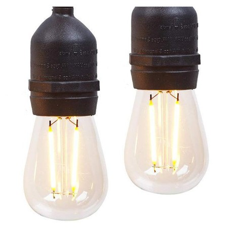Festoon Lights with E27 Replaceable Bulbs - Clear S14 on Black Cable Clear S14 on Black Cable