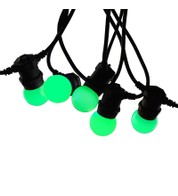Festoon Lights with E27 Replaceable Bulbs - Green on Black Cable - Green on Black Cable