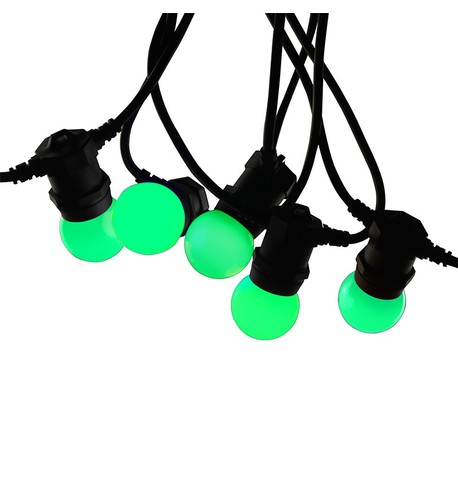 Festoon Lights with E27 Replaceable Bulbs - Green on Black Cable Green on Black Cable
