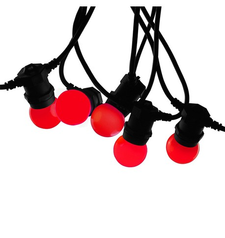 Festoon Lights with E27 Replaceable Bulbs - Red on Black Cable Red on Black Cable
