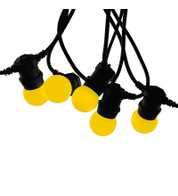 Festoon Lights with E27 Replaceable Bulbs - Yellow on Black Cable - Yellow on Black Cable