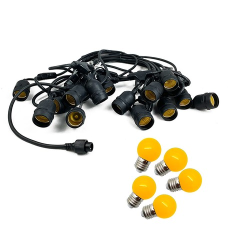 Festoon Lights with E27 Replaceable Bulbs - Yellow on Black Cable Yellow on Black Cable