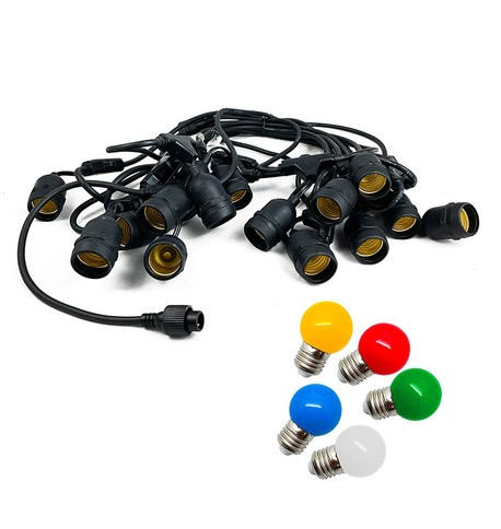 Festoon Lights with E27 Replaceable Bulbs - Multicolour on Black Cable Multicolour on Black Cable