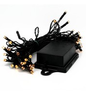 Outdoor Battery Operated Christmas Lights - Warm White on Black Cable - Warm White on Black Cable