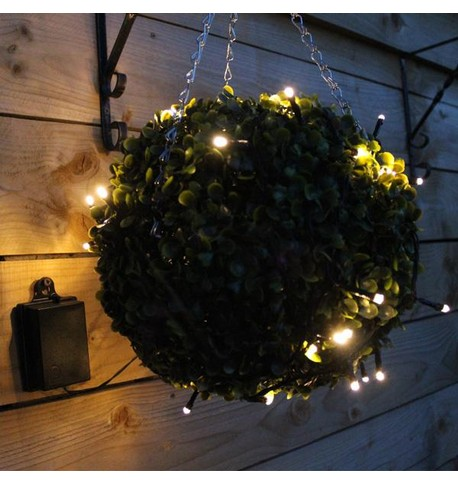 Outdoor Battery Operated Christmas Lights - Warm White on Black Cable Warm White on Black Cable