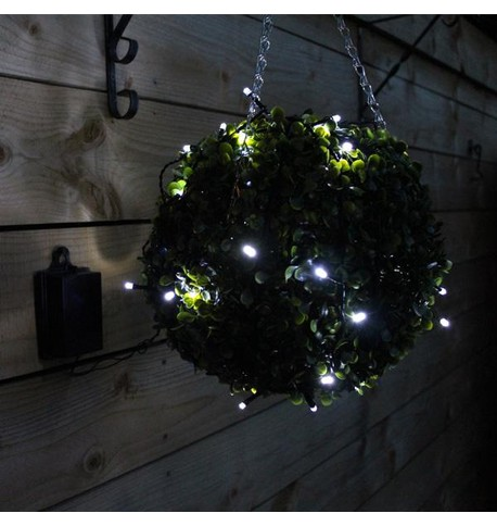 Outdoor Battery Operated Christmas Lights - Ice White on Black Cable Ice White on Black Cable