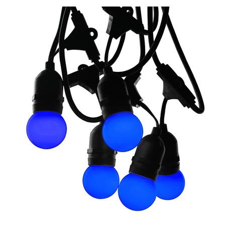 Mains Voltage Drop Bulb Festoon Lights - Blue on Black Cable Blue On Black Cable