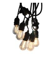 Mains Voltage Drop Bulb Festoon Lights - Clear S14 on Black Cable - Clear S14 on Black Cable