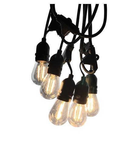 Mains Voltage Drop Bulb Festoon Lights - Clear S14 on Black Cable Clear S14 on Black Cable