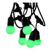 Mains Voltage Drop Bulb Festoon Lights - Green on Black Cable - Green on Black Cable
