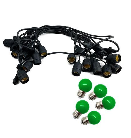Mains Voltage Drop Bulb Festoon Lights - Green on Black Cable Green on Black Cable