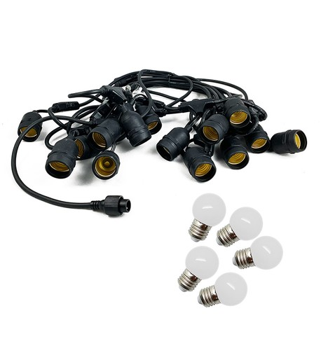 Mains Voltage Drop Bulb Festoon Lights - Ice White on Black Cable Ice White on Black Cable