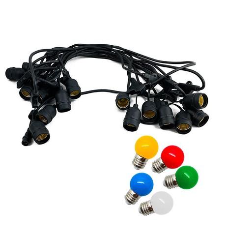 Mains Voltage Drop Bulb Festoon Lights - Multicolour on Black Cable Multicolour on Black Cable