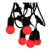 Mains Voltage Drop Bulb Festoon Lights - Red on Black Cable - Red on Black Cable