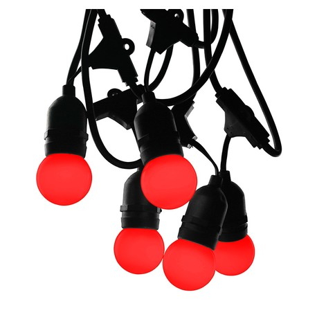 Mains Voltage Drop Bulb Festoon Lights - Red on Black Cable Red on Black Cable