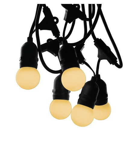 Mains Voltage Drop Bulb Festoon Lights - Warm White on Black Cable Warm White on Black