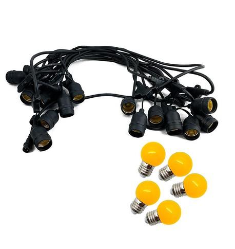 Mains Voltage Drop Bulb Festoon Lights - Yellow on Black Cable Yellow on Black Cable