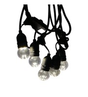 Mains Voltage Drop Bulb Festoon Lights - Clear on Black Cable - Clear Globe on Black Cable