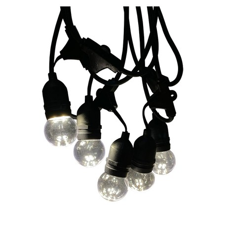 Mains Voltage Drop Bulb Festoon Lights - Clear on Black Cable Clear Globe on Black Cable