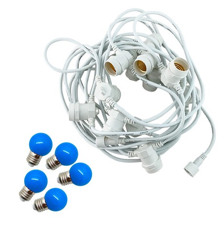 Festoon Lights with E27 Replaceable Bulbs - Blue on White Cable Blue on White Cable