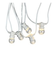 Festoon Lights with E27 Replaceable Bulbs - Clear Globe on White Cable - Clear