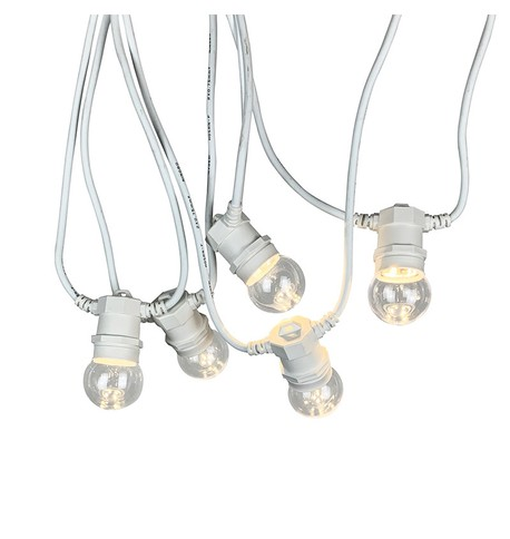 Festoon Lights with E27 Replaceable Bulbs - Clear Globe on White Cable Clear Globe on White Cable