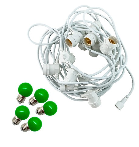 Festoon Lights with E27 Replaceable Bulbs - Green on White Cable Green on White Cable