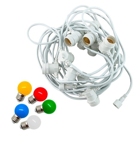 Festoon Lights with E27 Replaceable Bulbs - Multicolour on White Cable Multicolour on White Cable