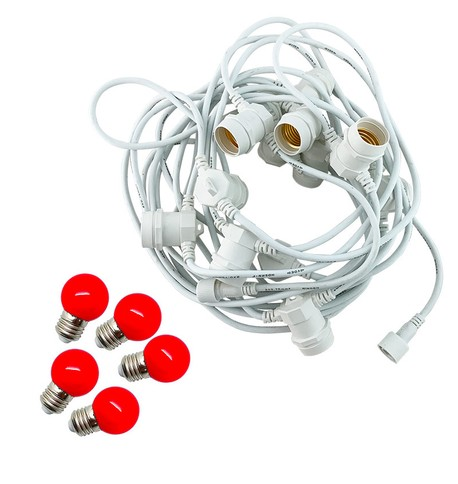 Festoon Lights with E27 Replaceable Bulbs - Red on White Cable Red on White Cable