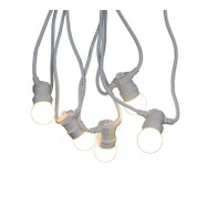 Festoon Lights with E27 Replaceable Bulbs - Warm White on White Cable - Warm White on White Cable