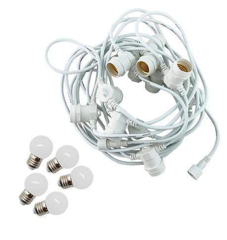 Festoon Lights with E27 Replaceable Bulbs - Warm White on White Cable Warm White on White Cable