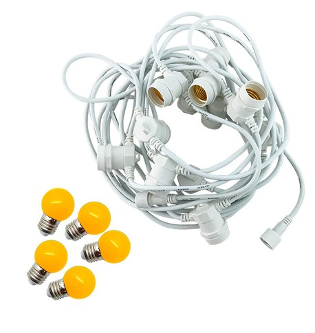 Festoon Lights with E27 Replaceable Bulbs - Yellow on White Cable Yellow on White Cable