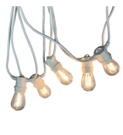 Festoon Lights with E27 Replaceable Bulbs - Clear S14 on White Cable - Clear S14 on White Cable