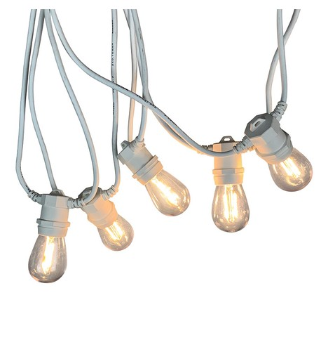 Festoon Lights with E27 Replaceable Bulbs - Clear S14 on White Cable Clear S14 on White Cable