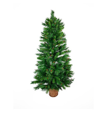 Decorated Wall Mounted Half Christmas Tree Green