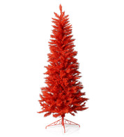 SLIMLINE PINE CHRISTMAS TREE - SCARLET RED - Red