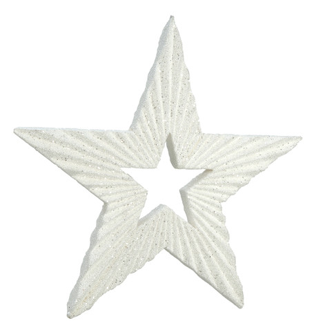 TEXTURED GLITTER STAR - WHITE White